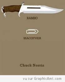 Si Rambo a besoin d'un Couteau pour se défendre, Macgyver d'une épingle pour s'en sortir, Chuck Norris, lui n'a besoin de rien !