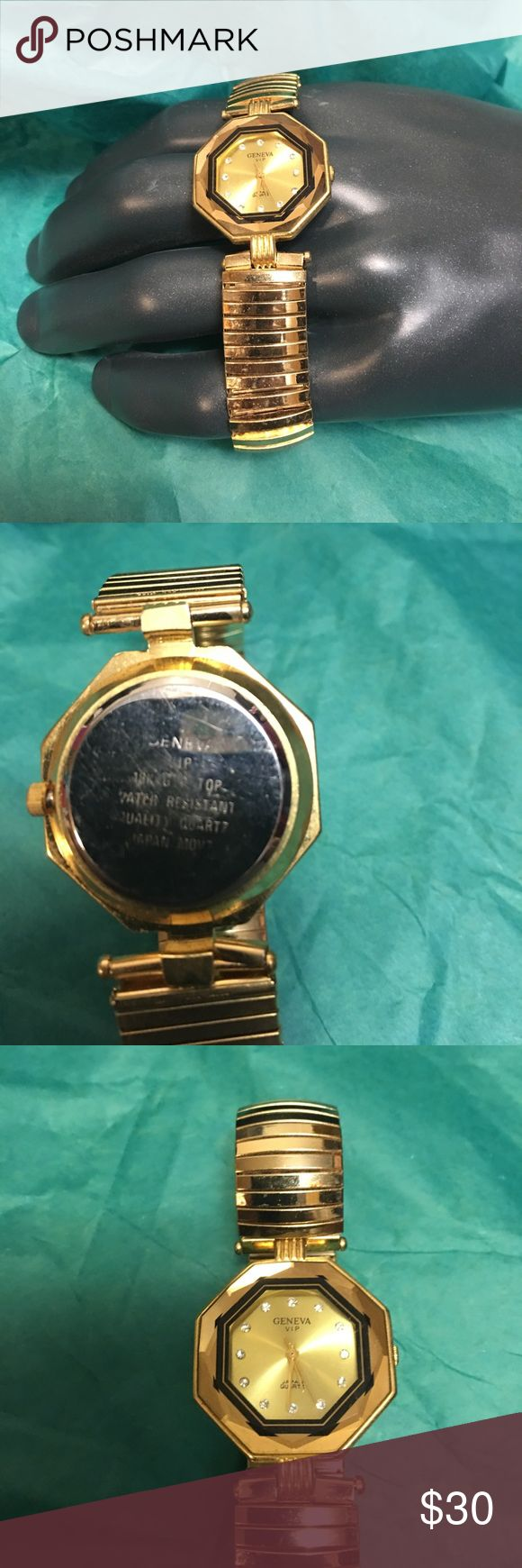 Geneva Vip Watch 18 K Quartz Geneva Vip Watch 18 K Quartz Water Resistant Vintage Japan Gold plated  needs new battery if you want battery in that is extra Geneva Platinum Accessories Watches