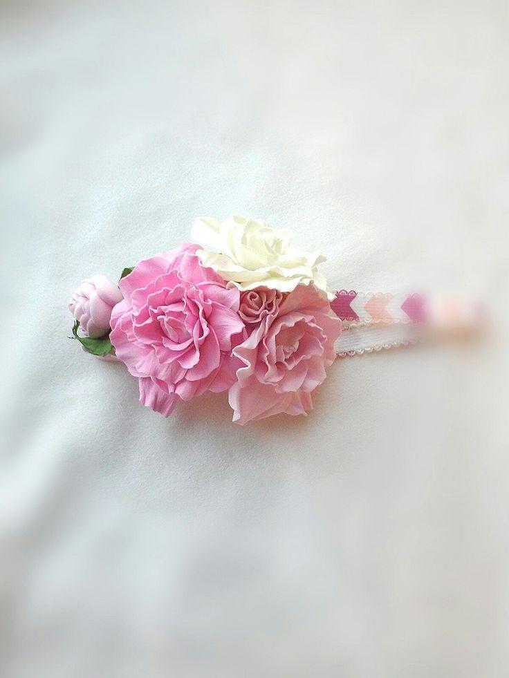 #Резинка - ободок с цветами для девочки. Цветы, розы из фоамирана. Цветочный ободок, венок. #Flowers headband with roses made of foamiran. Hair wreath. #Toddler flower crown, #baby headband