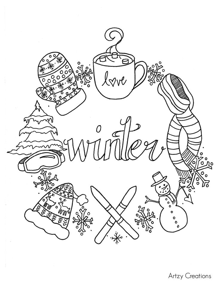 Free Winter Coloring Page Artzy Creations