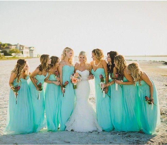 Turquoise Długie Suknie Druhna 2016 Nowy Sweetheart Plis Piętro Długość Szyfon bridemaid Suknie Na Ślub Plaży ZHP316(China (Mainland))