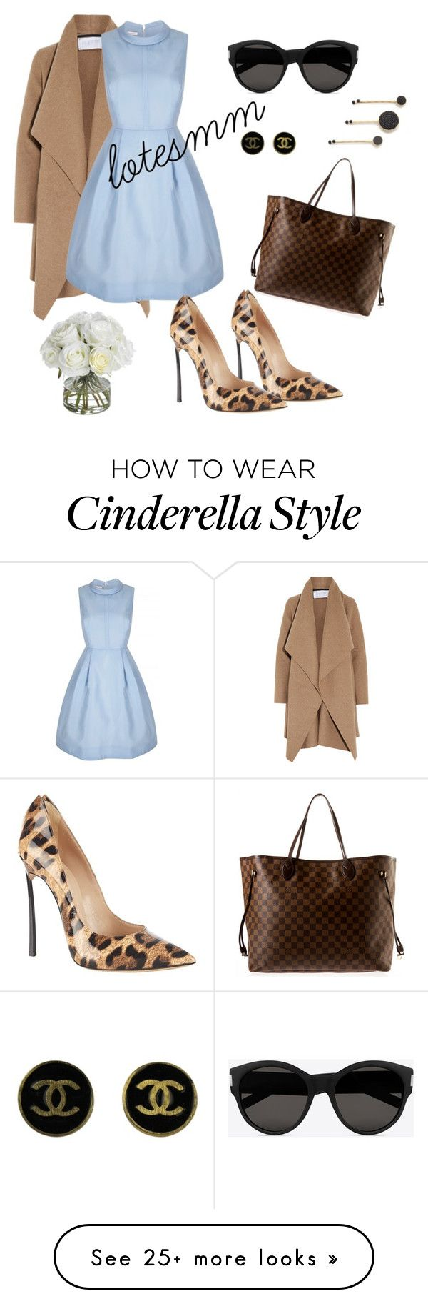 """blue dress coat"" by lotesmm on Polyvore featuring Casadei, Harris Wharf London, Chanel, Marc by Marc Jacobs, Yves Saint Laurent, Louis Vuitton, Diane James, women's clothing, women's fashion and women"