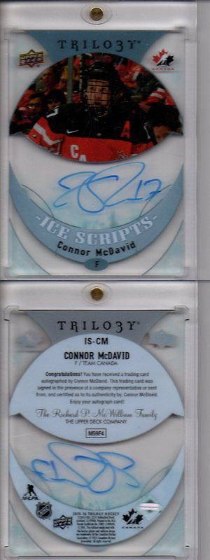 Ice Hockey Cards 216: 2015-16 Upper Deck Trilogy Connor Mcdavid Ice Scripts Rookie Auto #Is-Cm Oilers -> BUY IT NOW ONLY: $275 on eBay!