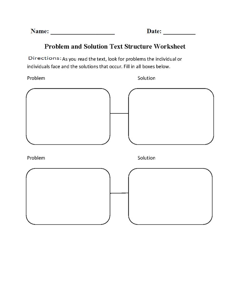 Problem and Solution Text Structure Worksheets