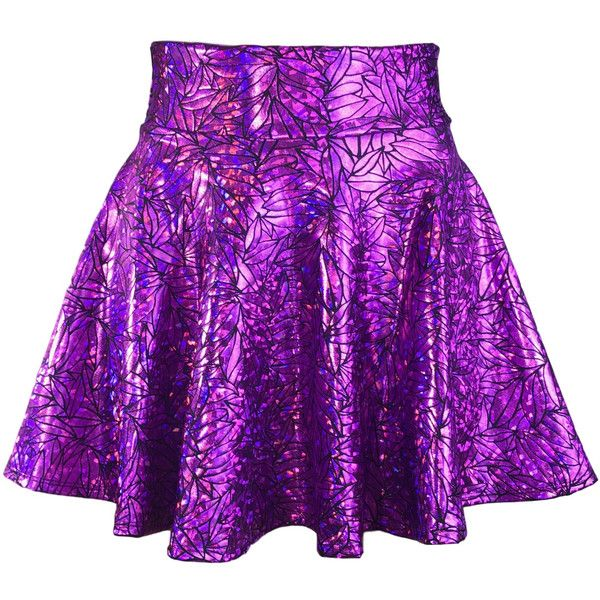 Purple Metallic Leaf High Waisted Skater Skirt Clubwear, Rave Wear,... ($34) ❤ liked on Polyvore featuring skirts, high waisted mini skirt, high waisted circle skirt, high-waisted flared skirts, high-waist skirt and mini skirt