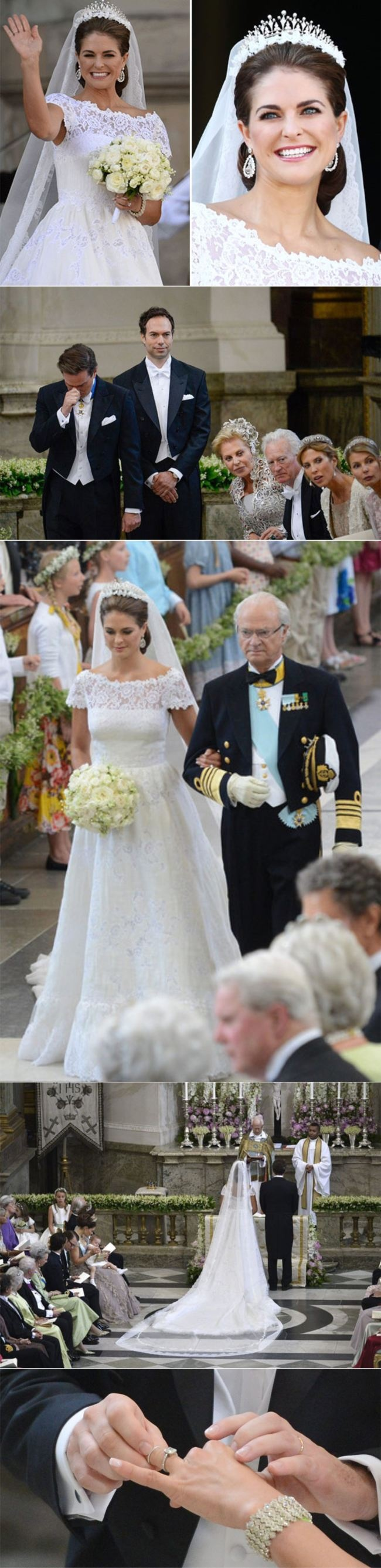 Princess Madeleine of Sweden's wedding to American businessman Chris O'Neil, Royal Palace chapel, Stockholm - 8 June 2013   Dress: Valentino Haute Couture