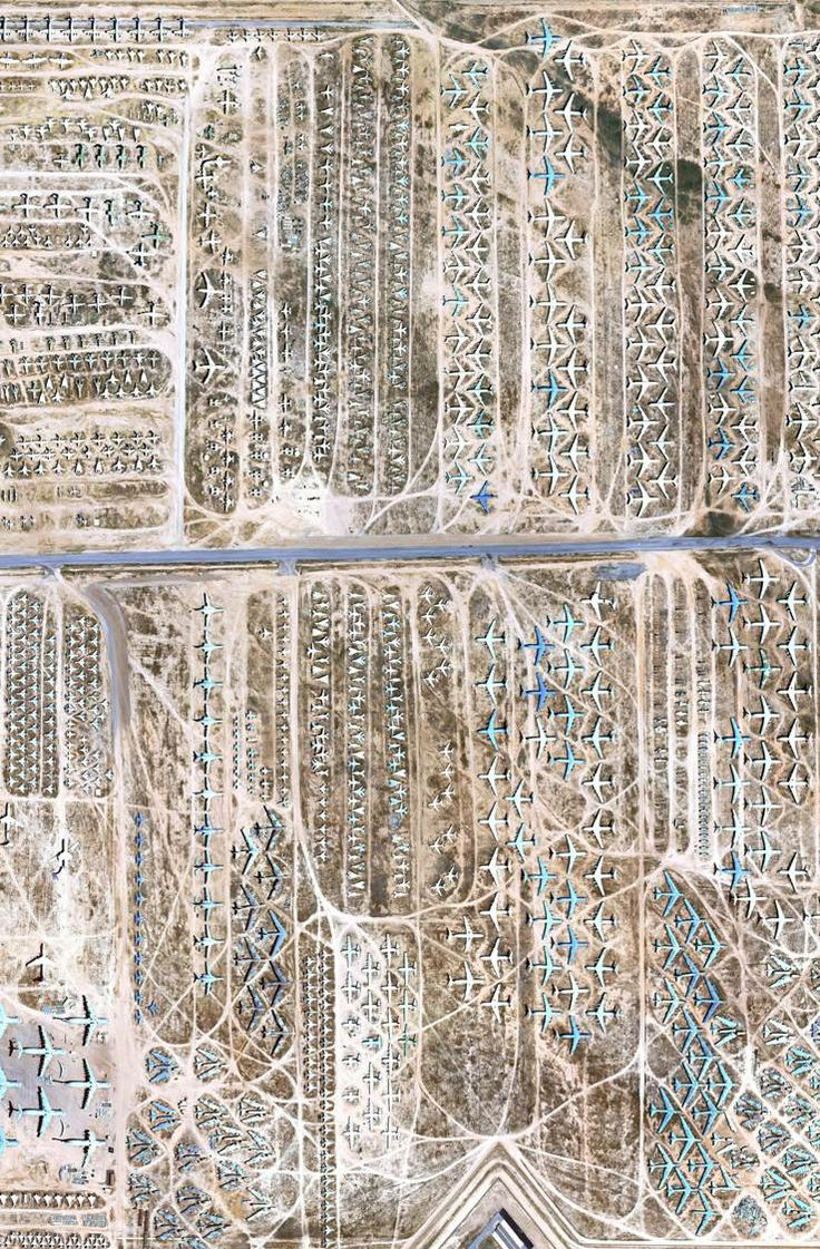 google earth image of an airplane graveyard. The 309th Aerospace Maintenance and Regeneration Group (AMARG), also known as the Boneyard, is a four square mile site in Arizona housing 4,000 retired aircraft—or at least one of almost every US armed forces plane since WWII.