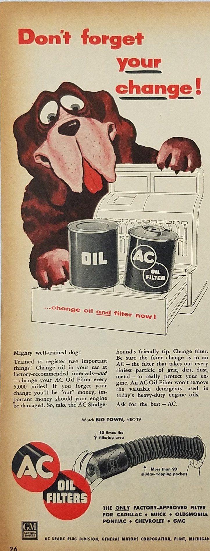 1955 AC Oil Filter Vintage Ad - Dog Next To Cash Register