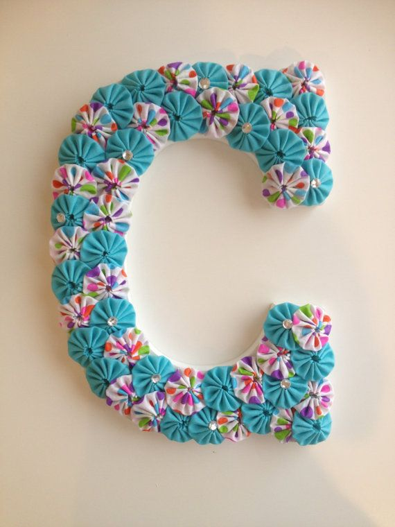 9 inch Wooden Letter covered with fabric yo-yos can hang on door or wall