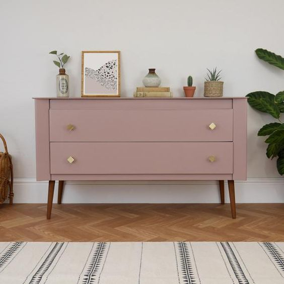 Pouting space pink by Farrow and Ball upcycle on a mid-century modern cabinet. Ima