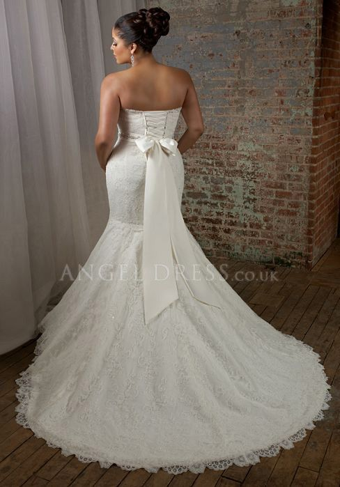 so pretty :) Lace With Beading Sleeveless Plus Size Wedding Dress - Angeldress.com