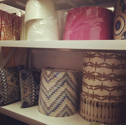 Lampshades on the shelf