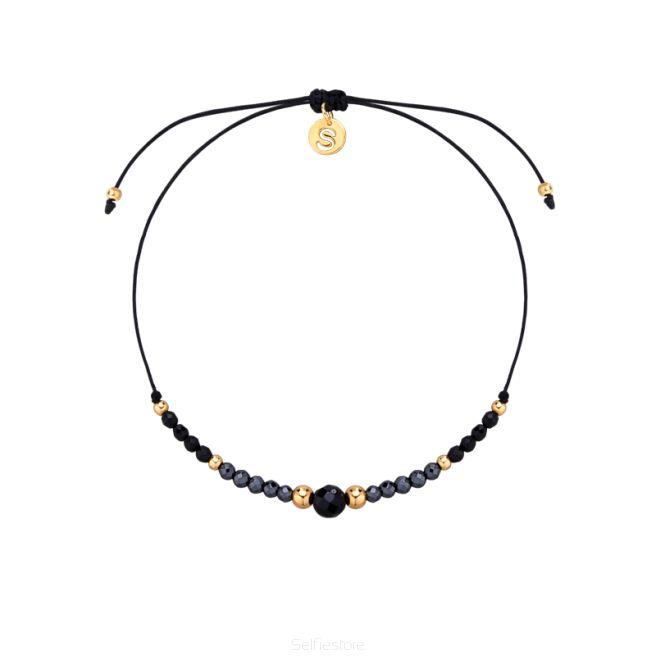 Bransoletka / GF 2/3 / agat czarny / hematyt / czarny jedwabny sznurek - Selfie Jewellery - Sklep Internetowy