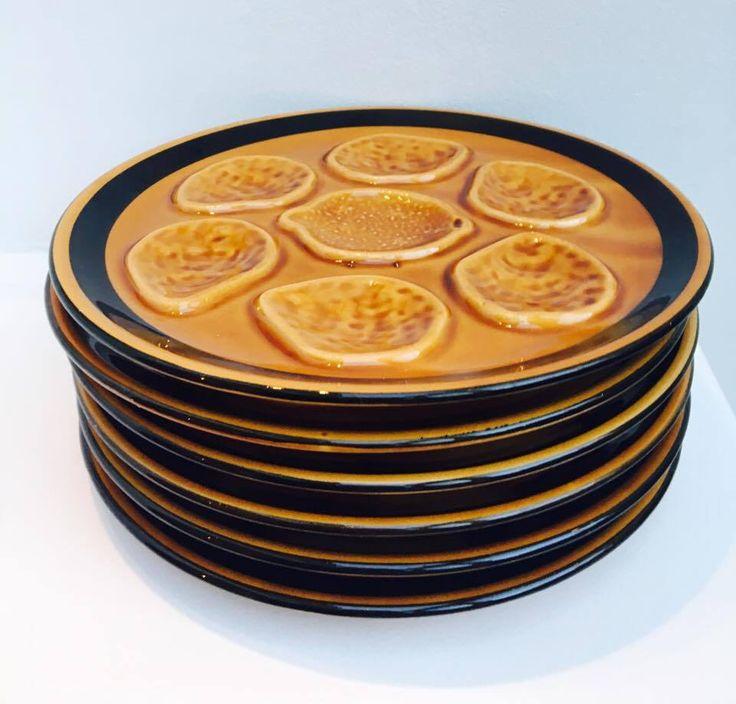 6 Assiettes à huîtres en céramique, faïence de Niderviller des années 50, plaque huîtres, plat huîtres, collection huîtres collectionneur. de la boutique VintagechicBruxelles sur Etsy