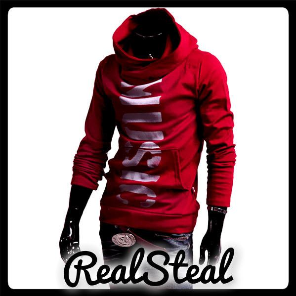 Mens Slim Fit Hoodies Stylish Letters Printed Solid Color Swearters RED
