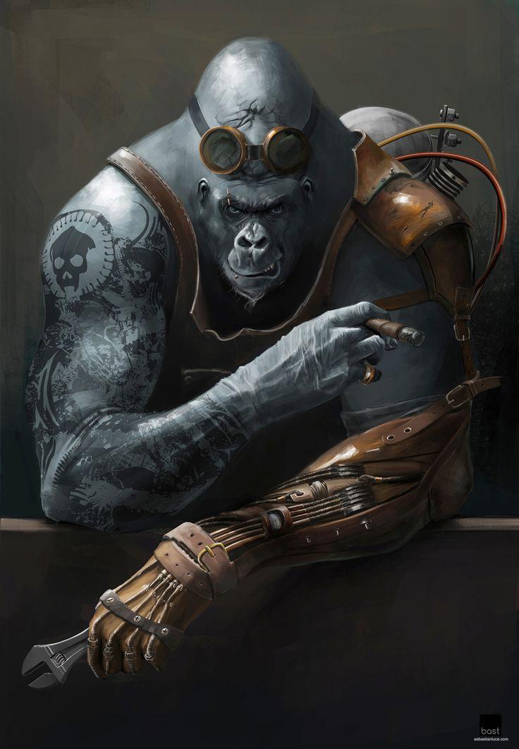 Steampunk gorilla, Sebastian Luca on ArtStation at https://www.artstation.com/artwork/G1DX1