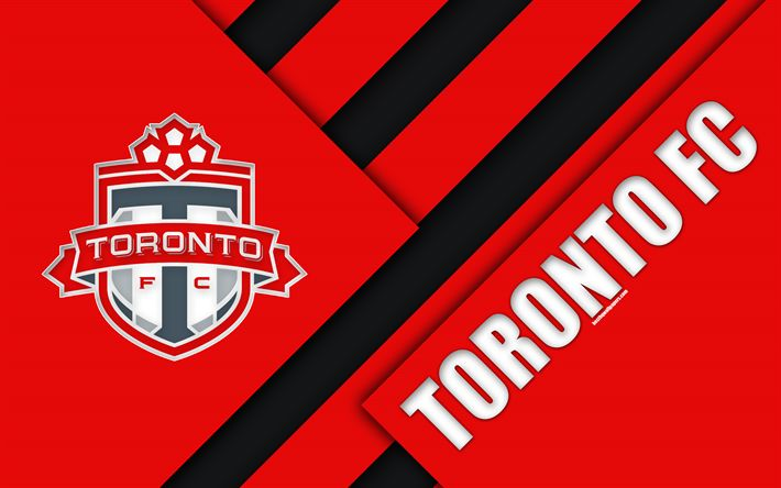 Download wallpapers Toronto FC, Ontario, Canada, material design, 4k, logo, red black abstraction, MLS, football, USA, Major League Soccer