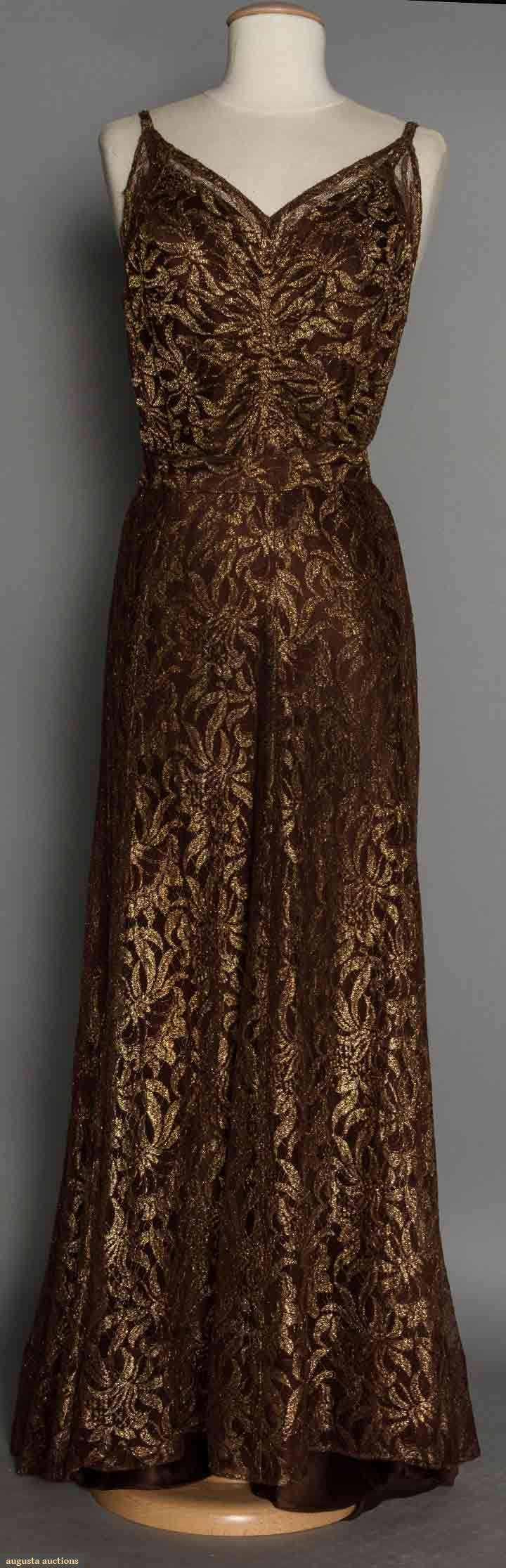 1930's brown & gold lace evening gown (back view)