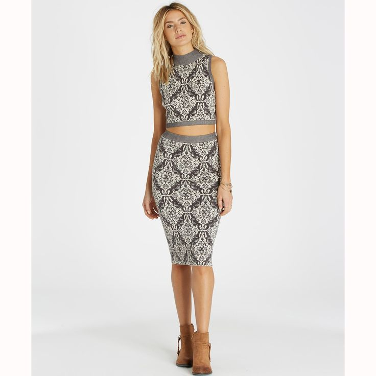 Get free shipping at the Billabong online store. Go for baroque with a damask print, knit midi skirt.