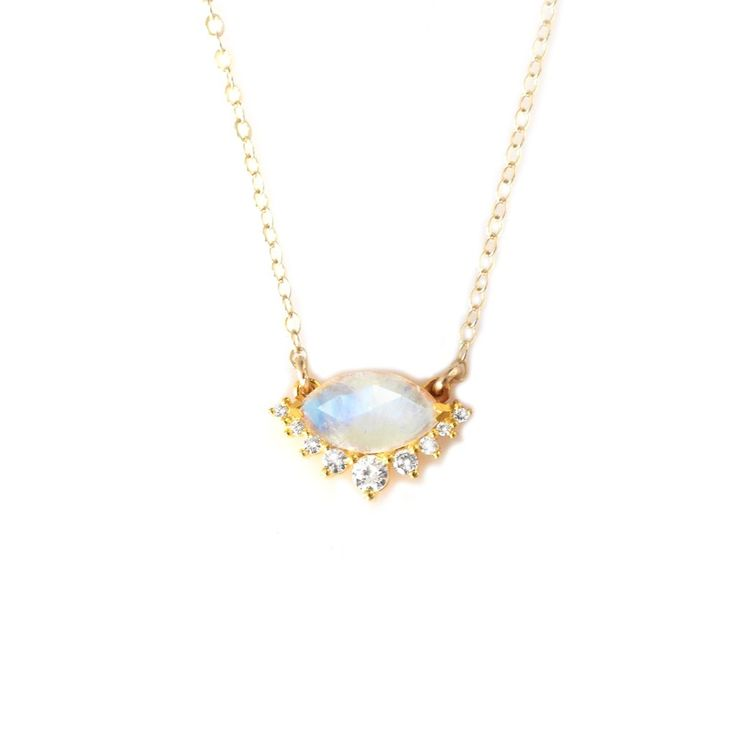 Rainbow Moonstone and Diamond Silver Lining's Pendant #moonstone-and-diamond-necklace #rainbow-moonstone-necklace #silver-linnings-pendant #silverlinings-pendant
