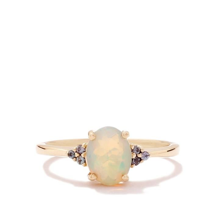 Ethiopian Opal Ring with Arusha Color Change Garnet in 10k Gold 0.80ct