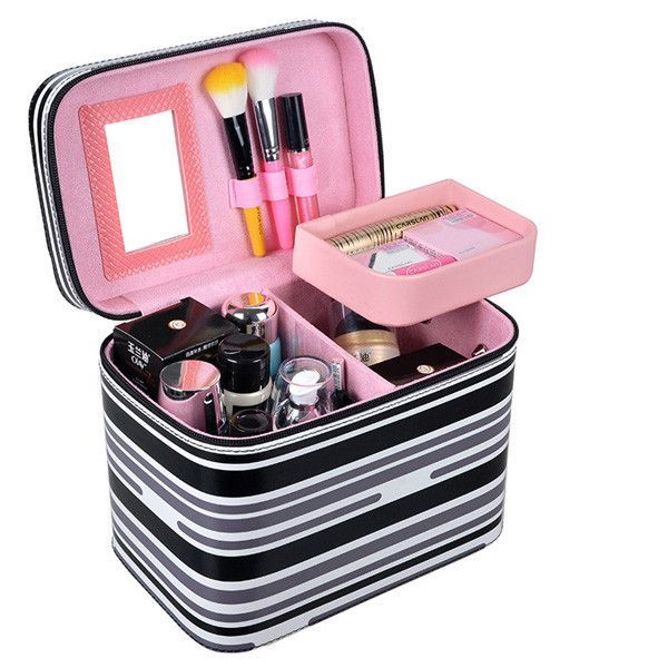 Quality Quilted Fashion Professional Large-Capacity Cosmetic Makeup Travel Case 13 Colors