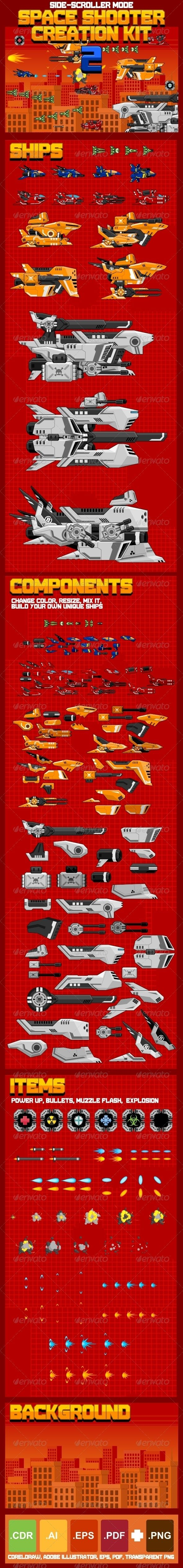 Space Shooter Creation Kit 2 by Zuhria Alfitra, via Behance