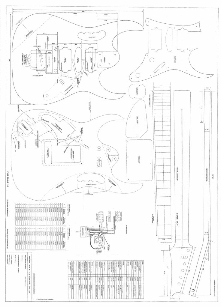 "Guitar Plans to Make the Ibanez JEM 777 - Full Scale Plans. plans to make the ibanez jem. printed on large format paper 36"" by 44"". mailed in tube...rolled and unfolded. for the guitar maker. very detailed, with all measurements and routing information."