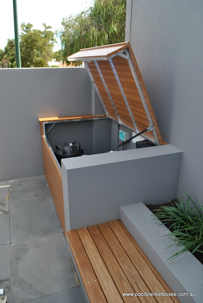 Pool Filter Enclosure Ideas find this pin and more on for the home australian pool filter Like The Bench And Storage For Pool Toys Pool Blanket Boxes Australia
