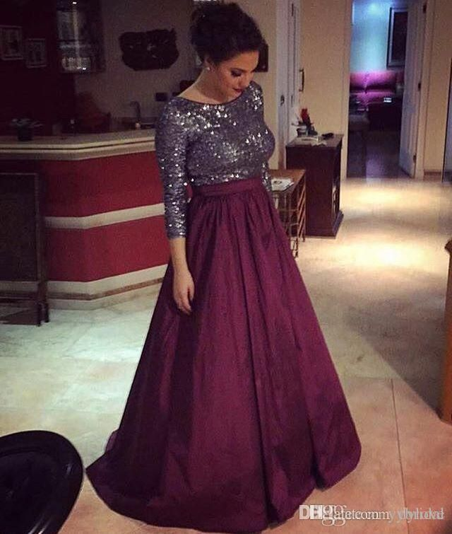 500f762f8d8 2018 Sexy Cheap Elegant Plus Size Mother Of The Bride Dresses Burgundy Long  Sleeves Sequined Prom Dresses Groom Mother Dress Plus Sizes Mother Dresses  For ...