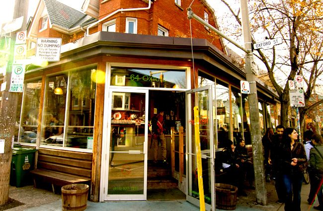 Urban Herbivore.  One of two locations Toronto's Eaton Food Centre and this one In the heart of Kensington Market is one of my favourite spot to eat....everything is homemade and fresh.  Best salads in the city.  mantis ?