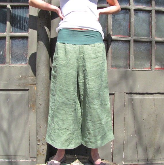 Me: I had a pair almost exactly like these although I did not pay $115 for them. I loved them!! Pinner: Alberta Hemp Capris by consciousclothing on Etsy