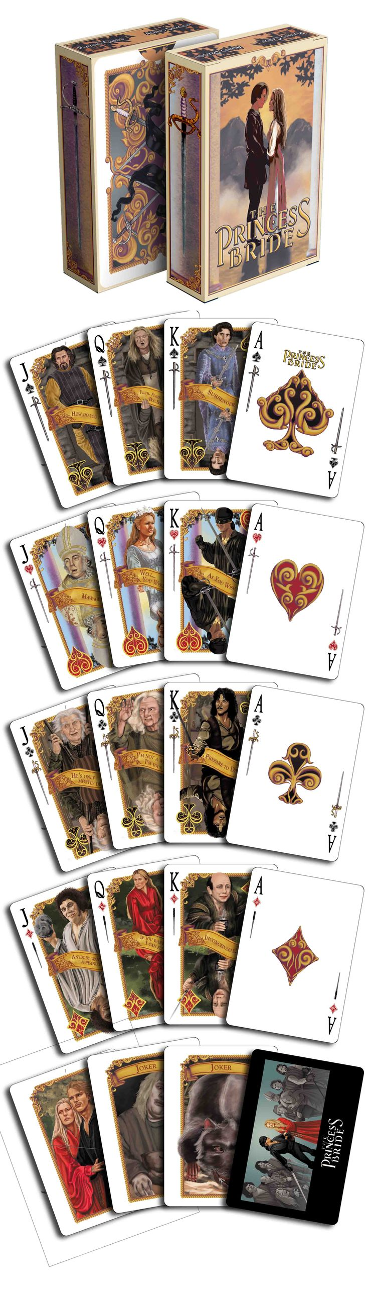 "The Princess Bride - As You Wish playing cards. This deck is wonderful. It has your favorite quotes from the movie on each court card. ""Inconceivable!"" Now available on www.albinodragon.com"