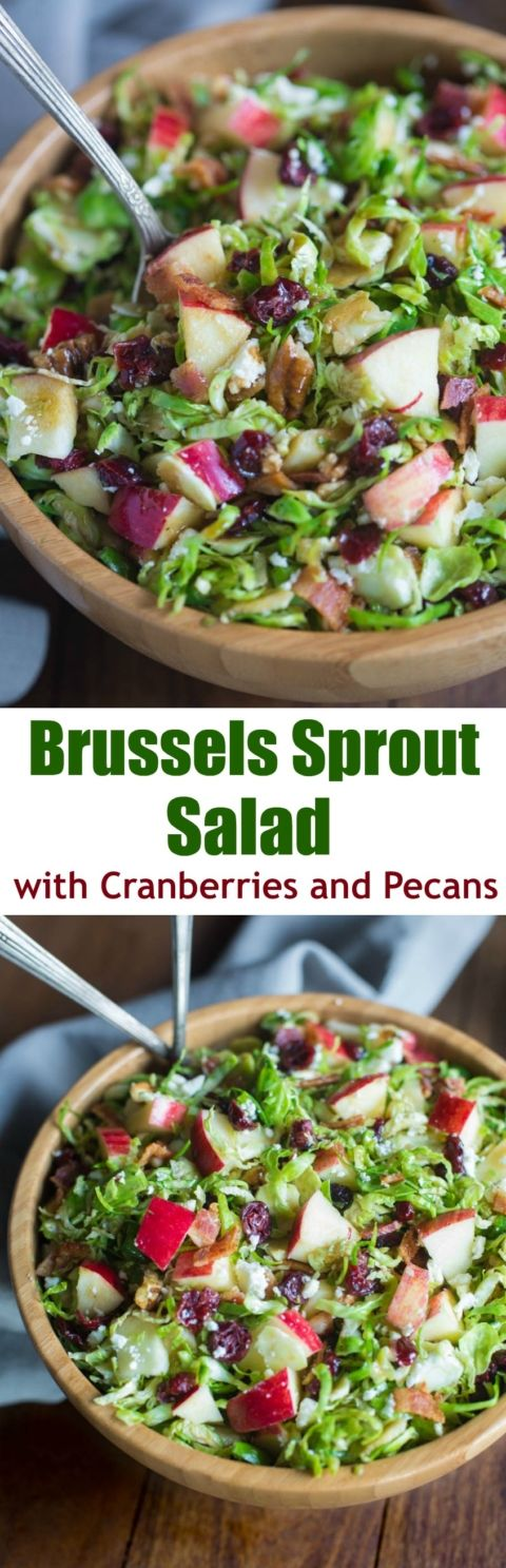 Brussels Sprout Salad with Cranberries and Pecans, chopped apples and feta cheese with a maple balsamic vinaigrette. This sweet and tangy salad is always a crowd favorite! | Tastes Better From Scratch