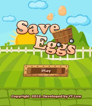 """Save Eggs"", an action-style game in which the player must save all dropping eggs and scores 1000 points before the time is up."