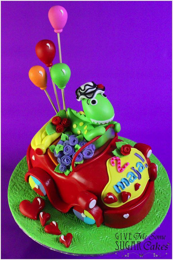 Dorthy Driving The Big Red Car Birthday Cake