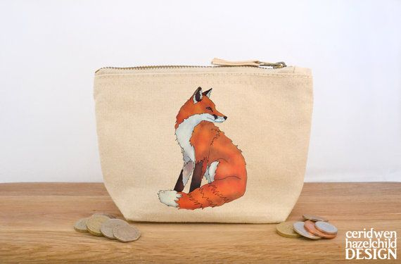 Fox Canvas Zip Purse, Makeup Bag, Coin Purse, Small Accessory Pouch