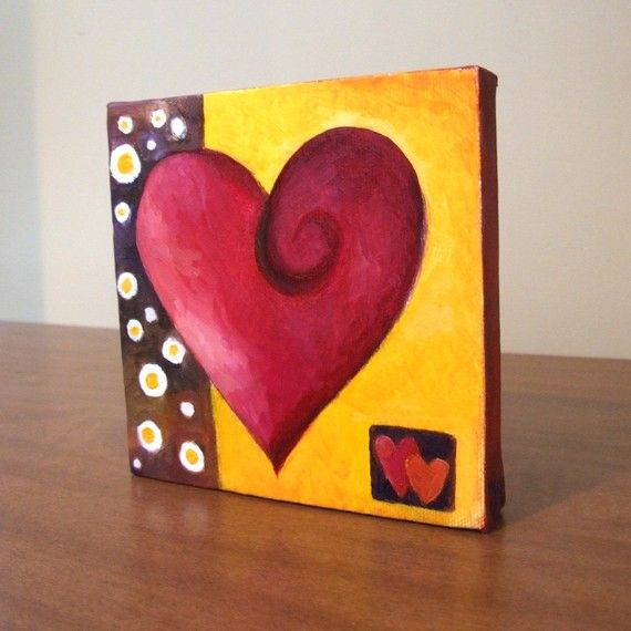 Original Painting MODERN ART HEART 5x5 Oil on Canvas by nJoyArt, $38.00 @Nicola Pearce Pearce Pearce Joyner
