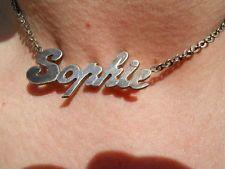 Ancienne Chaîne collier en argent , poinçonné , vintage ,  prénom Sophie