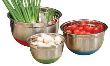 3-piece Colorful Stainless Steel Mixing Bowl Set with Nonskid Base contemporary mixing bowls
