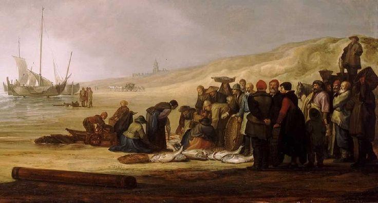 Simon Jacobsz. de Vlieger (ca. 1601-1653). De gevangen vis wordt gesorteerd en uitgestald voor de opkopers met de manden. De platte manden werden op het hoofd gedragen en omdat ze lekten droegen mannen en vrouwen hoofddeksels.