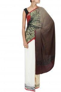 Khaki, white, yellow scribble print sari