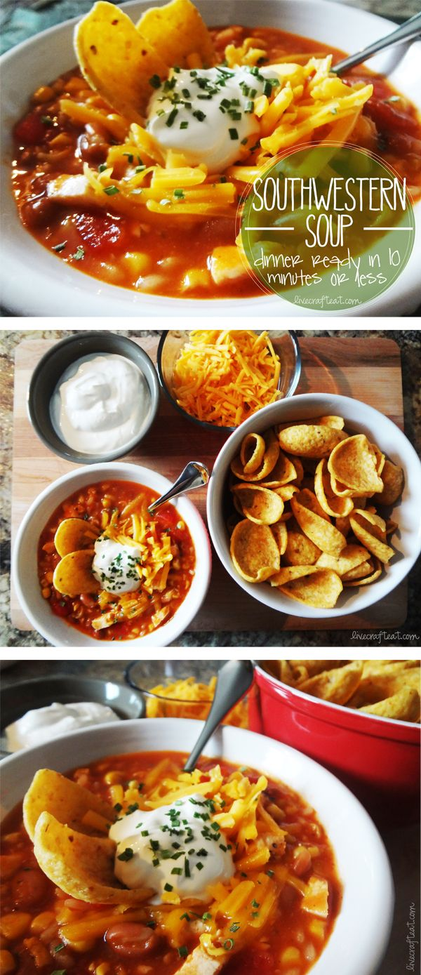 try this fabulously easy (& fast!) southwestern soup recipe - all it takes is 7 cans. pour them into a pot and heat! seriously. no extra spices needed - it's got plenty of heat. serve with sour cream, grated cheese, and fritos. great to have any night!
