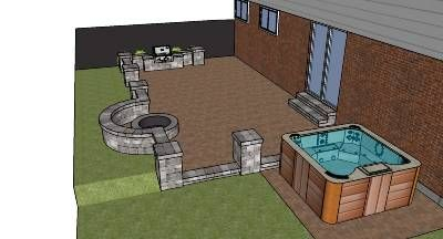 Outdoor living designed and sketched by Agape Retaining Walls, Inc. St. Louis, MO. Rockwood Lakeland and Riverland Bluestone seatwalls, fire pit, and grill on a Romanstone Ledge Rock Timberwood Blend patio area-- with a hot tub.