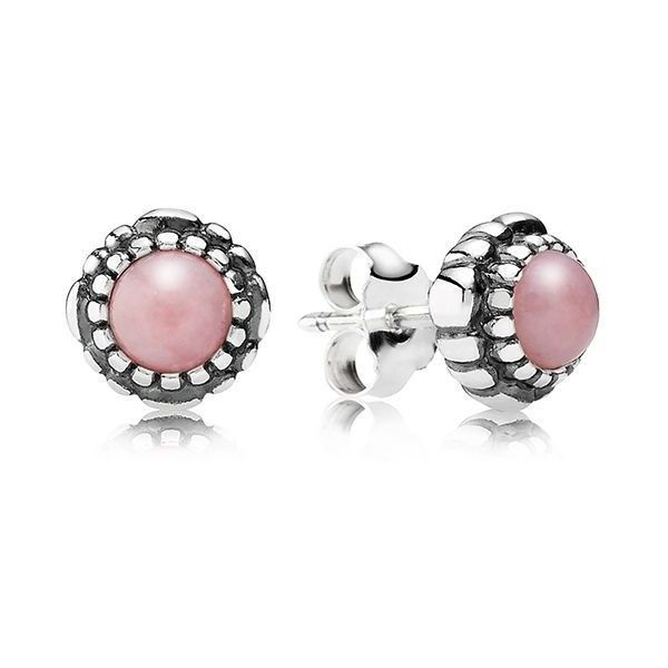 PANDORA Earrings - Sterling Silver & Pink Opal Birthday Blooms October Stud featuring polyvore, fashion, jewelry, earrings, sterling silver earrings, post earrings, pandora jewelry, pink jewelry and pink opal jewelry