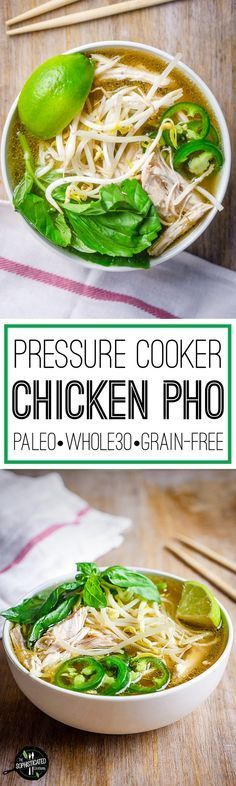 Easy recipe for Pressure Cooker Chicken Pho. Spiralized daikon serves as the noodles for this complete Whole30 and Paleo meal.