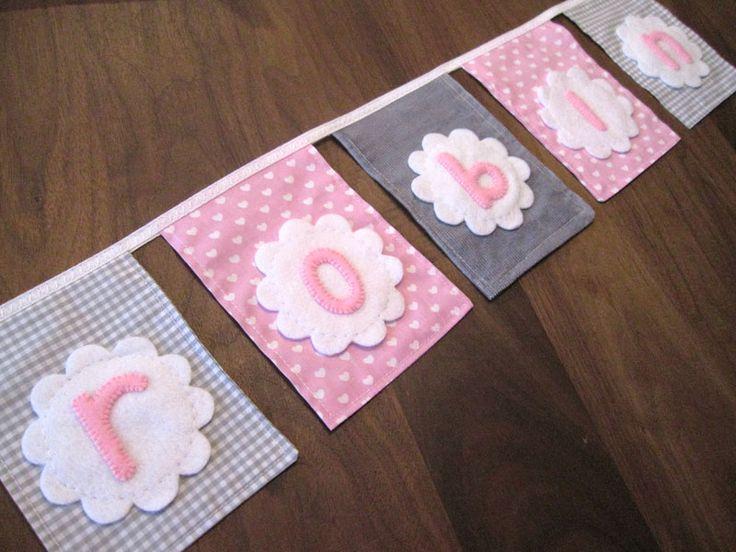 meisjes vlaggenlijn van stof roze