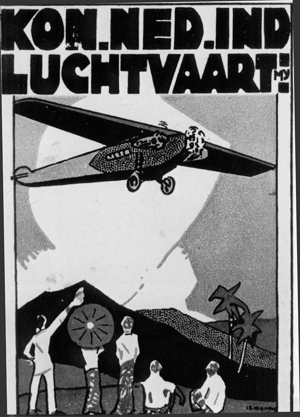netherlands air plane travel poster indonesia dutch east indies art