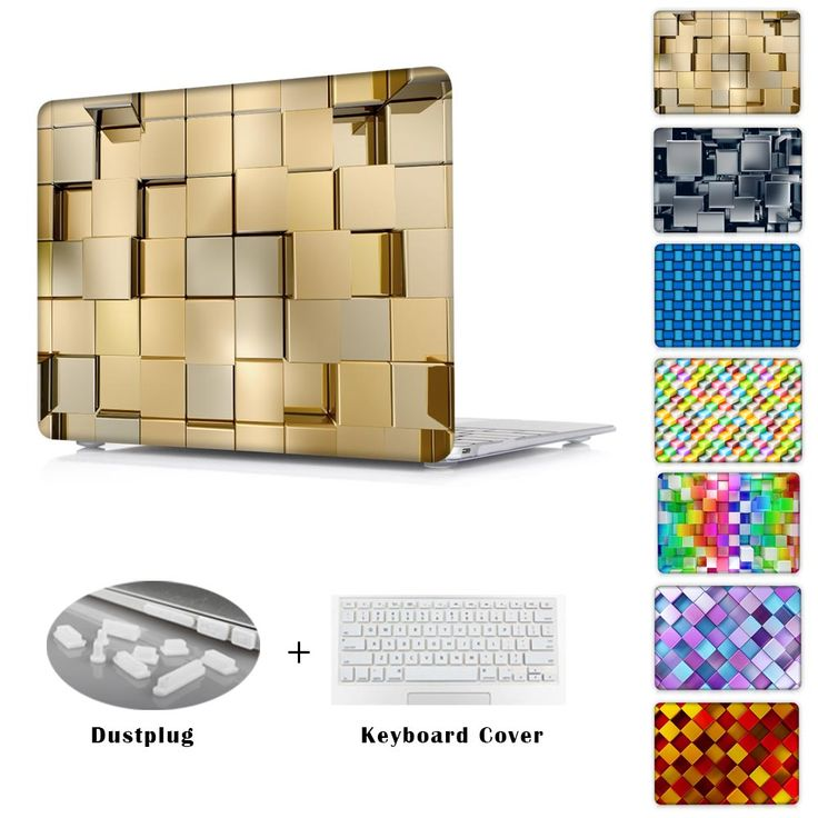 3D metal cubes Design Print Case For Macbook Pro 13 Clear Hard Cover Case for Macbook Air 11 13 ,Retina 12 13 15 inch