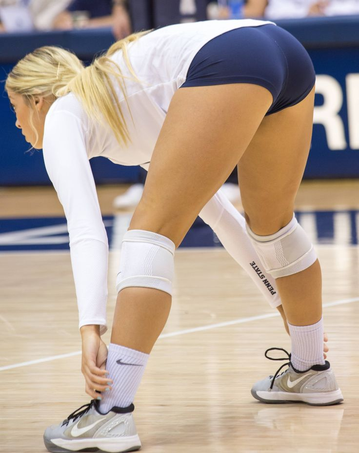 girls bent over in volleyball shorts